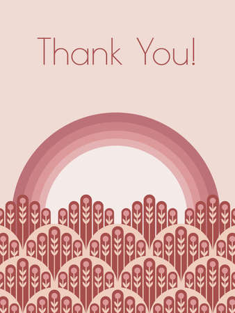 Lovely Thank you greeting card vector illustration in monochrome colors for Mothers Day, Valentines Day with rainbow and floral meadow.