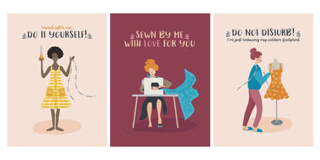 Set of cute diy dressmaker illustrations with text promoting the handmade crafts. Vector design template for card, invitation, poster, flyer, cover, and other use. 矢量图像