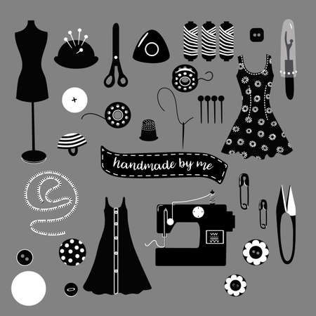 Set of black and white vector objects of sewing and dressmaking equipment, tools for card, poster, flyer, cover, banner and other use.