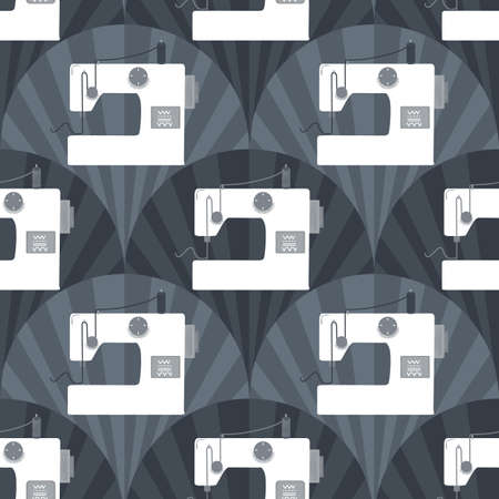 Sewing machine grayscale seamless vector repeat pattern background for fabric, wrapping paper, scrapbooking, banner poster or other use. Trendy retro style.
