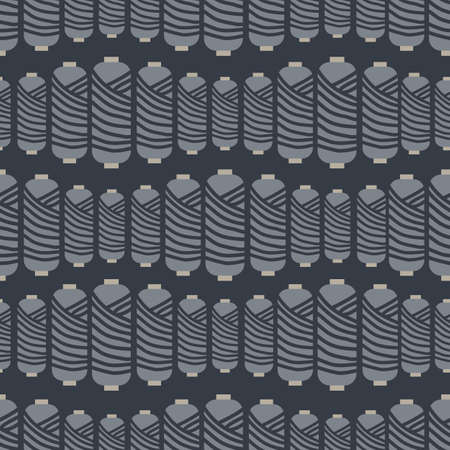 Threads stripe vector seamless repeat pattern for fabric, scrapbooking and craft projects, gift wraps or wallpaper on dark grey background.