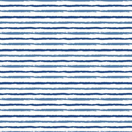 Horizontal seamless grunge brush striped pattern. Blue color stripes on white background. Seamless vector pattern background. Vector Illustratie