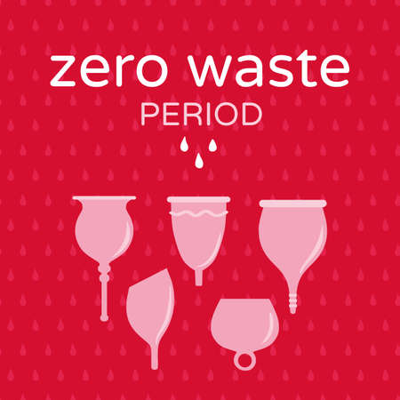 Zero waste menstrual cups on red drop textured background vector illustration. Women health concept, zero waste alternativesfor cards, flyers, posters or other use.