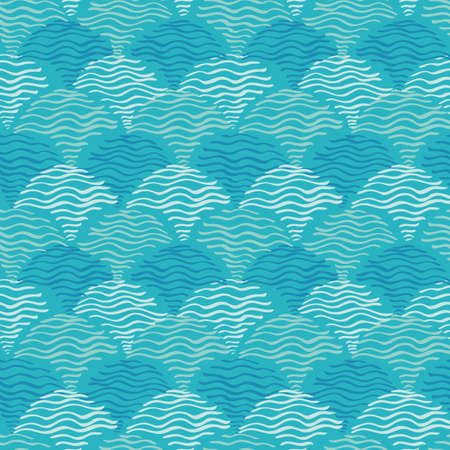 Aqua waves background. Seamless blue water ripples pattern. Vector illustration for fabric, wallpaper, scrapbooking projects or bacgrounds.