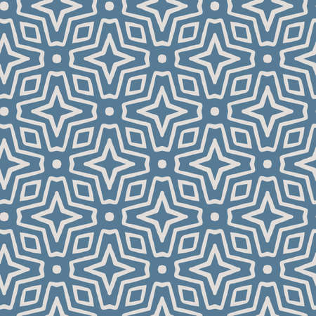 Blue abstract geometric seamless vector pattern modern tribal background for wallpaper, fabric, paper, textile or scrapbooking. Hand drawn.