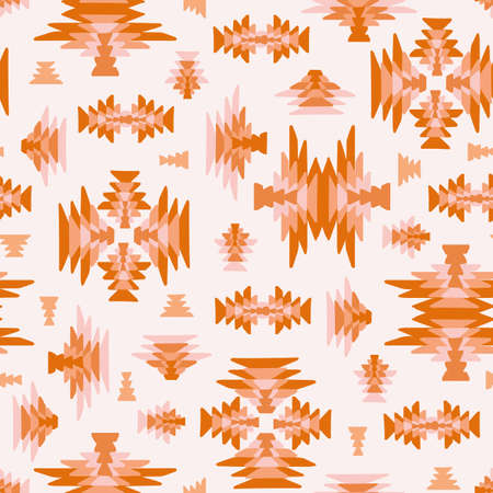 Ethnic geometric kilim woven seamless vector background in pink orange colors for fabric, wallpaper, scrapbooking projects or backgrounds.