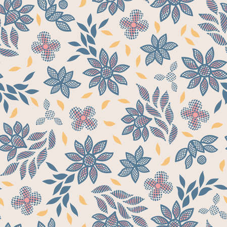 Colorful floral lace embroidery inspired seamless vector pattern background for fabric, wallpaper, stationery or scapbooking projects. Illusztráció