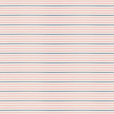 Horizontal seamless irregular thin striped pattern. Blue and pink color stripes on bige background. Seamless vector pattern background.  イラスト・ベクター素材