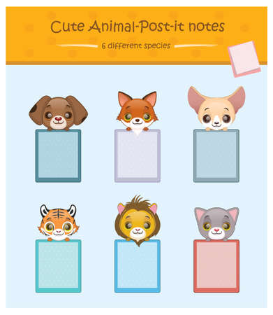 cute dog: Cute animal notes with 6 different species - dog, fox, fennec fox, tiger, lion, cat