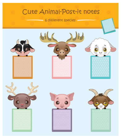 animal species: Cute animal notes with 6 different species - cow, moose, sheep, reindeer, pig, goat Illustration