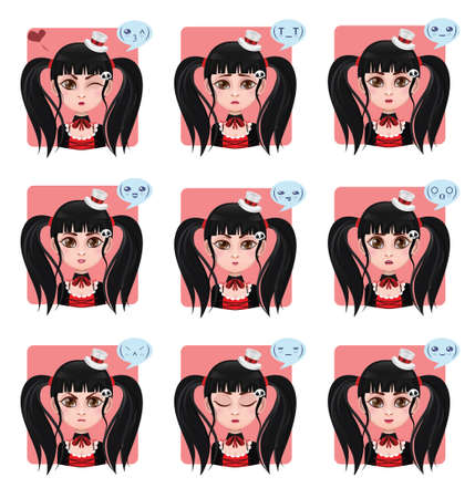 displaying: Girl displaying 9 different emotions