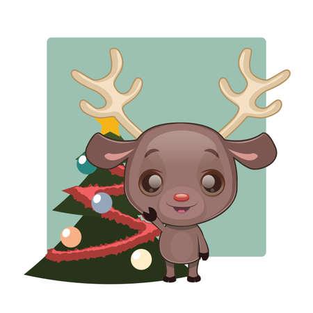 star mascot: Cute reindeer with Christmas tree