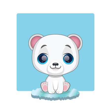tundra: Cute polar bear sitting on ice