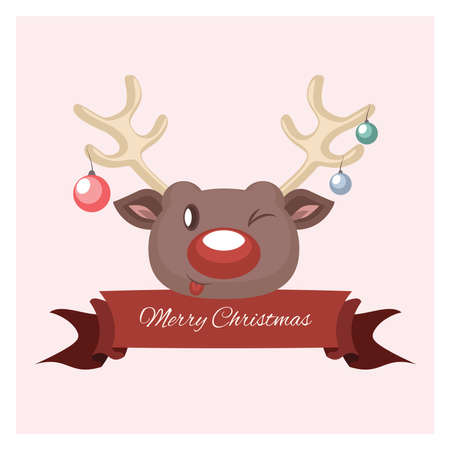 festive: Festive reindeer greeting Illustration