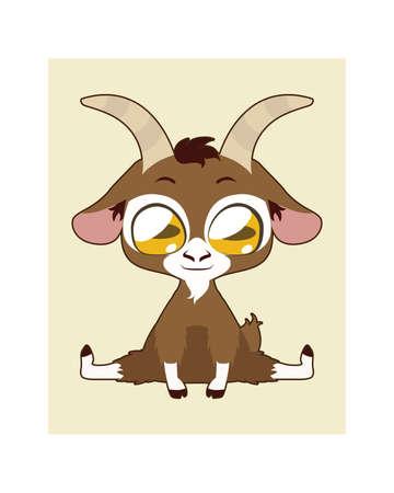 sheep eye: Cute goat illustration in flat color