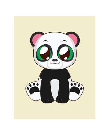 wildlife smile: Cute panda illustartion in flat color