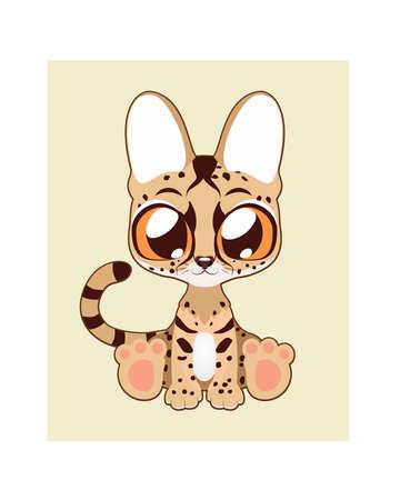 Cute serval illustration in flat color