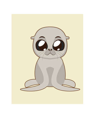 whisker characters: Cute seal illustration in flat color