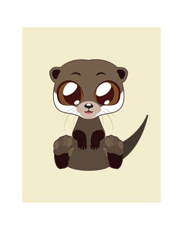 otter: Cute otter illustration in flat color Illustration