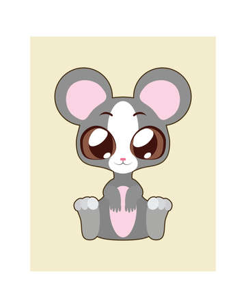 whisker characters: Cute mouse illustration in flat color Illustration