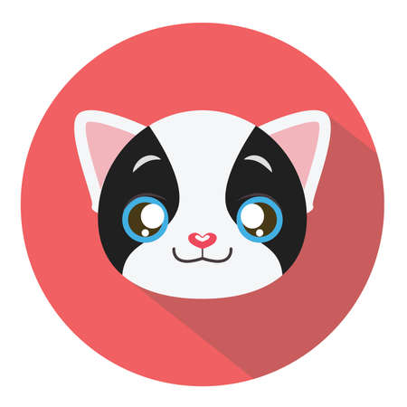 tomcat: Kitty head icon #15 with long shadow Illustration
