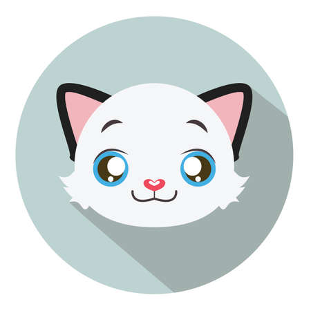 kitten small white: Kitty head icon #12 with long shadow Illustration