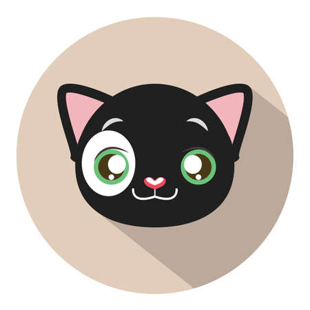 tomcat: Kitty head icon #1 with long shadow Illustration
