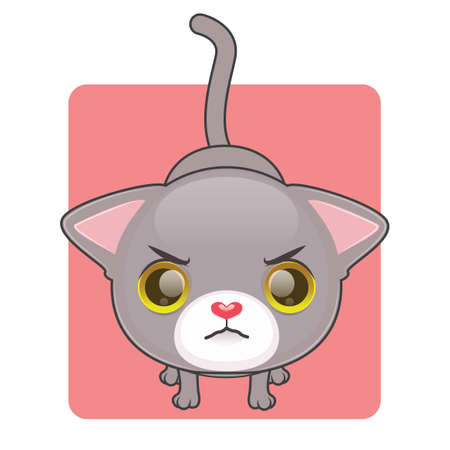 gray cat: Cute gray cat being angry Illustration