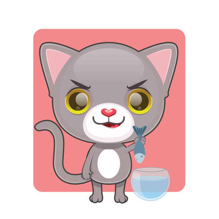 tomcat: Cute gray cat pulling a fish out from their bowl Illustration