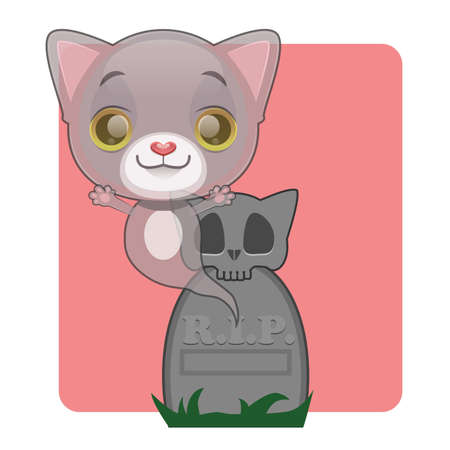 gray cat: Cute gray cat ghost rising from grave - Halloween theme