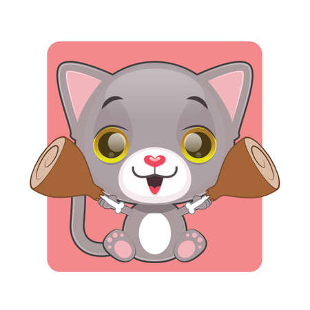tomcat: Cute gray cat holding two pieces of chicken meat in their hands