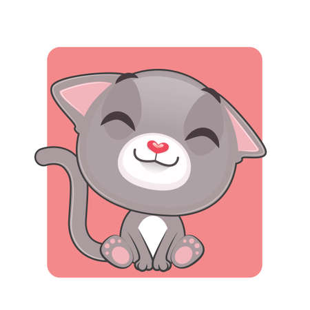 gray cat: Cute gray cat being happy