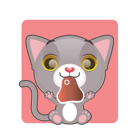 gray cat: Cute gray cat holding a piece of meat in their mouth