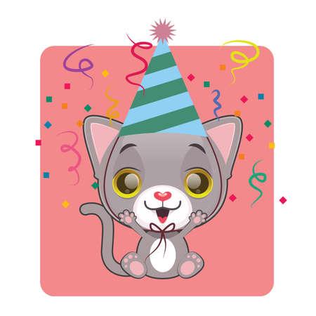 tomcat: Cute gray cat in a festive mood