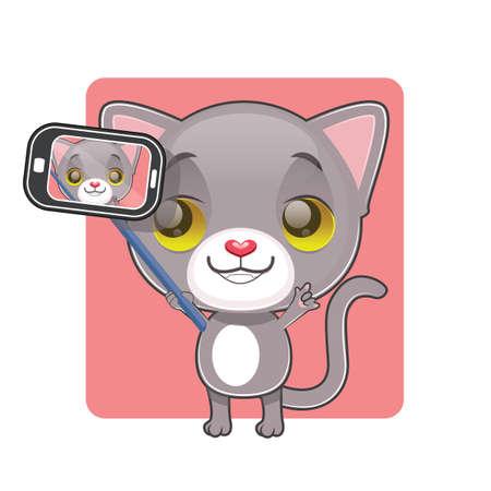 tomcat: Cute gray cat taking a selfie Illustration