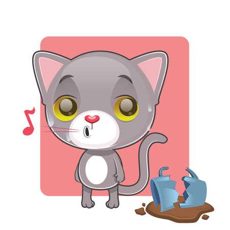 tomcat: Cute gray cat feeling guilty after breaking a mug