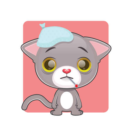 gray cat: Cute gray cat feeling sick