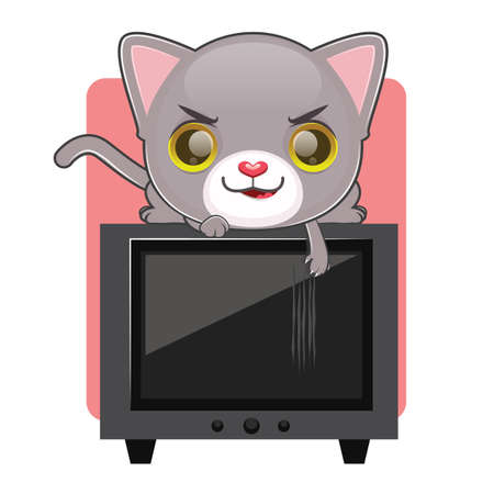 naughty: Cute gray cat being naughty and scratching a television screen Illustration