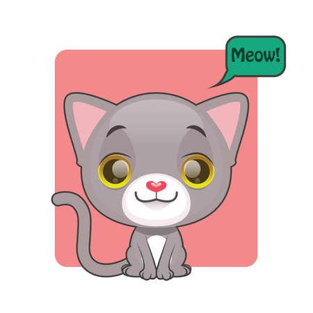 meow: Cute gray kitten with meow speech bubble