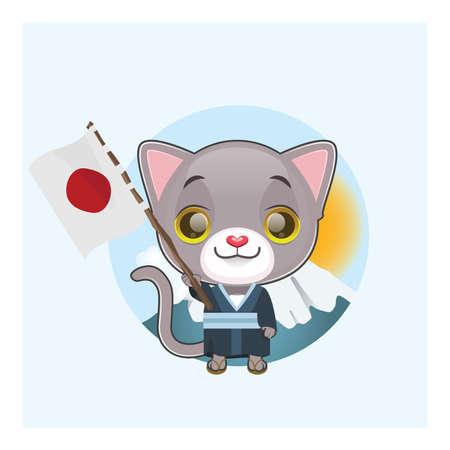tomcat: Cute gray cat dressed in kimono holding the Japanese flag Illustration