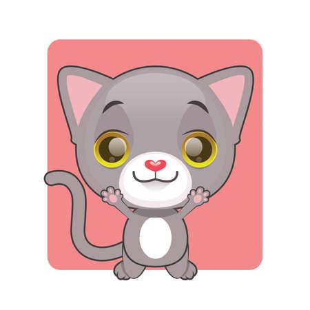 tomcat: Cute gray cat jumping for joy