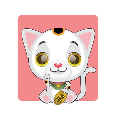 tomcat: Cute little manekineko illustration - kanji symbol on coin meaning good fortune