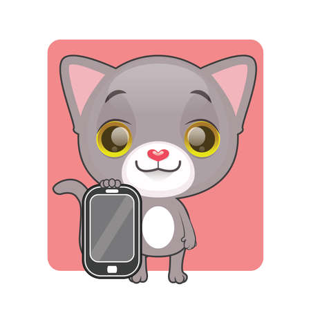 gray cat: Cute gray cat holding a mobile phone