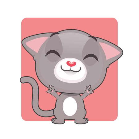 gray cat: Cute gray cat posing Illustration