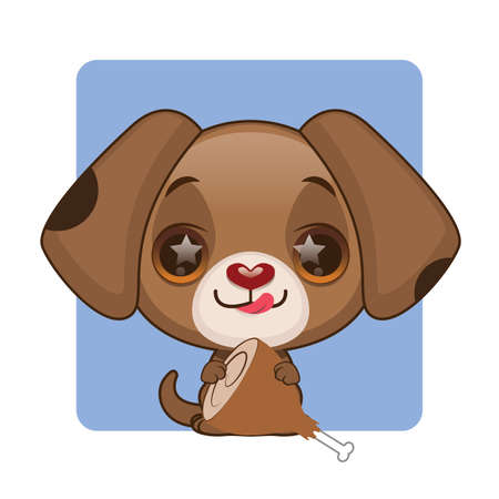 Cute brown puppy eager to eat meat Illustration