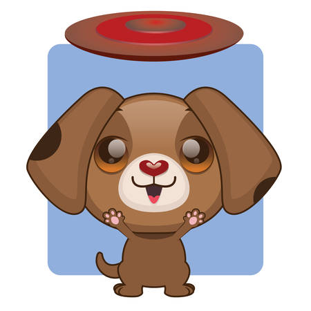 eager: Cute brown puppy eager to play with frisbee Illustration