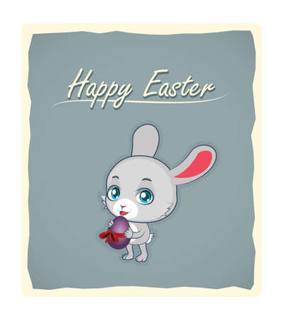 colored egg: Cute gray rabbit holding a violet colored egg - Easter greeting Illustration
