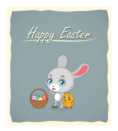 baby chick: Cute rabbit and baby chick Easter greeting Illustration