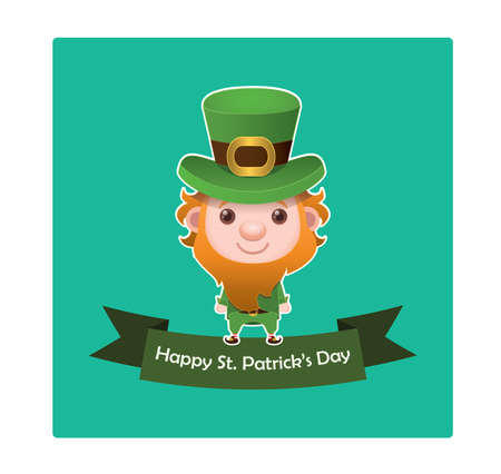 st  patrick's day: St. Patricks Day banner with leprechaun Illustration