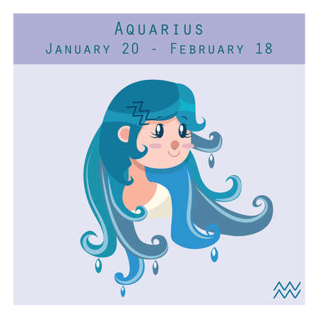 duration: Cartoon Aquarius zodiac sign with duration and symbol in lower corner